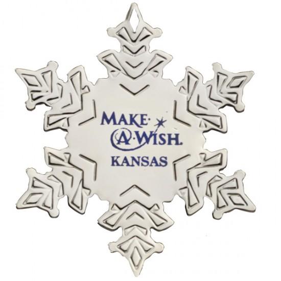 "Custom Logo Snowflake Silver Plated Holiday Ornament - 2 3/4""x3 1/4"""
