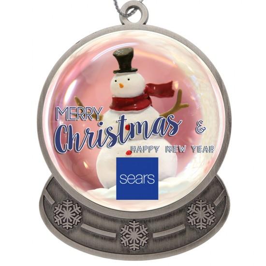 Custom Logo Antique Silver Finish Snow Globe Shape Ornament