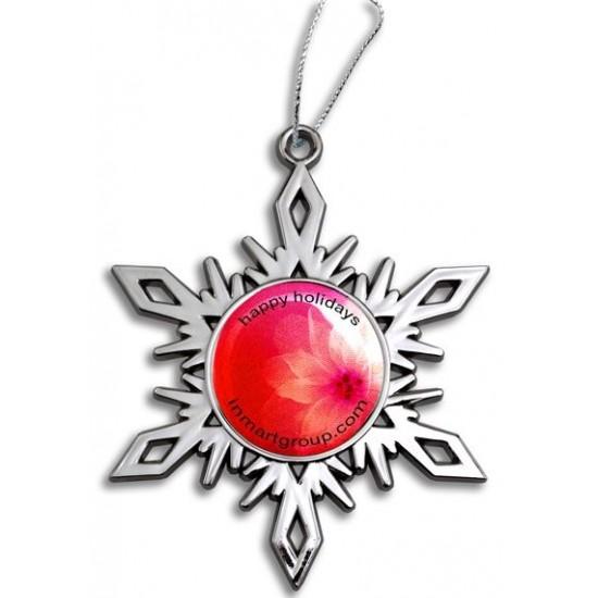 Custom Logo Bright Nickel Snowflake Ornament
